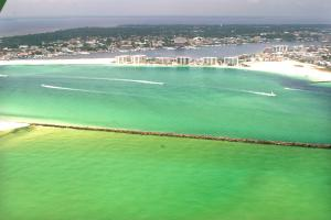 Click to enlarge image  - Destin Pass and the Harbor from above - June 1, 2010