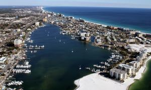 Click to enlarge image  - Destin Pass and the Harbor from above - January 21, 2011